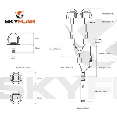 SkyFlar Multi-Function DOUBLE HEAD LED (Li-Ion Battery Pack optional) (2x White  or 1x RED 1x White)